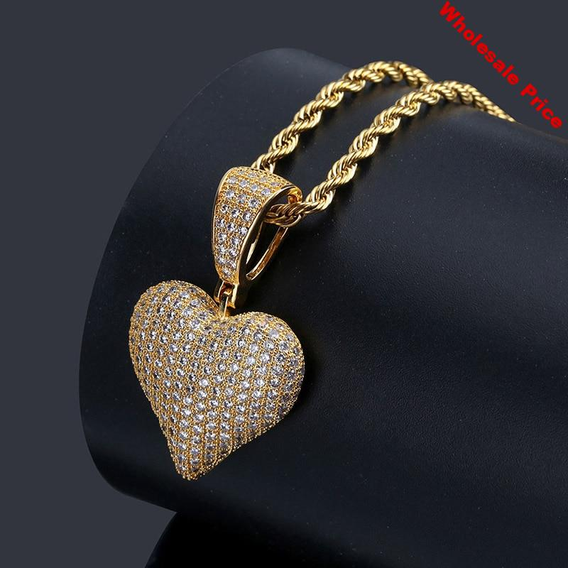 Micro Paved AAA CZ Stone Lucky Poker Pendants Heart Necklaces Men Hip Hop Bling Ice Out Rapper Jewelry Gold Party Gift