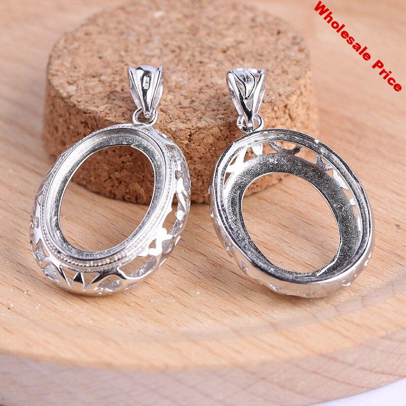 onwear 5pcs Fit 18x25mm oval cabochon pendant base settings diy blank cameo bezel trays diy charms for jewelry necklace making