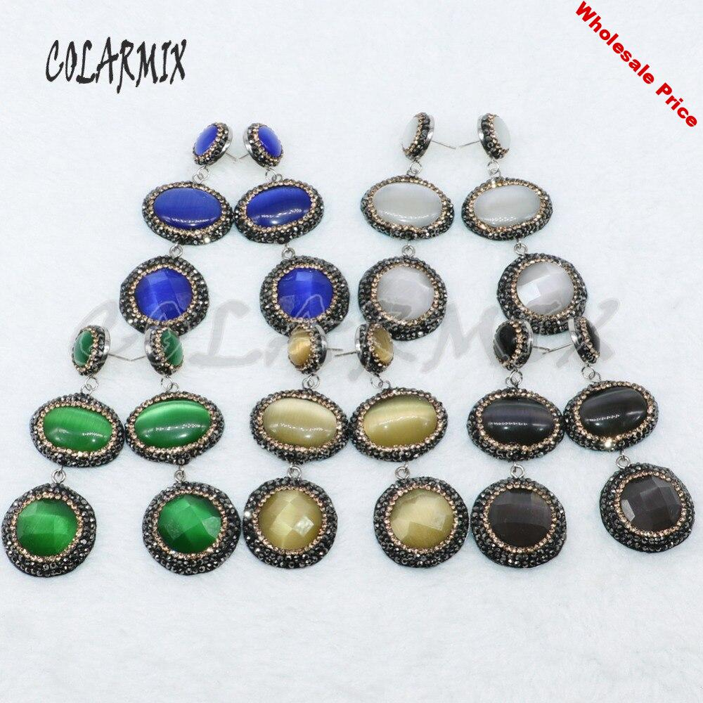 4Pairs Mix color Cat eye  stone earrings pave rhinestone earrings natural stone  Drop earrings   gift for lady  4887