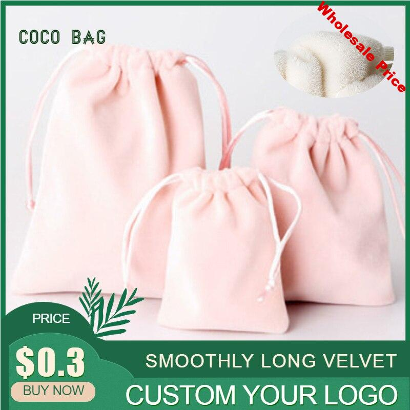 50pcs New Pink Velvet  Jewelry Packaging Bag Beads Storage Pouches Flannel Drawstring Bags Gift Wholesale Custom Logo Size