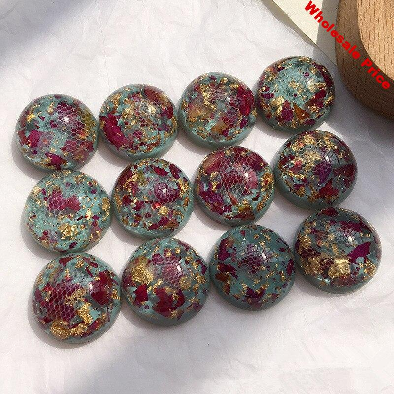 New arrived 30pcs/lot lace/Dried flowers decoration geometry rounds shape flatback resin beads diy jewelry earring accessory