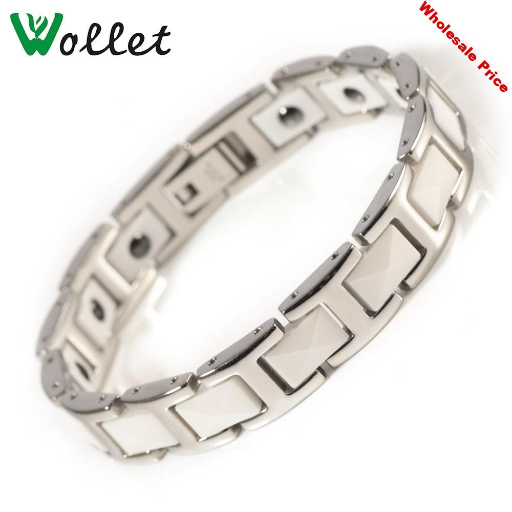 Wollet Jewelry 99.999% Germanium Hematite Magnetic White Ceramic Bracelet Bangle for Women Silver Color Health Stainless Steel