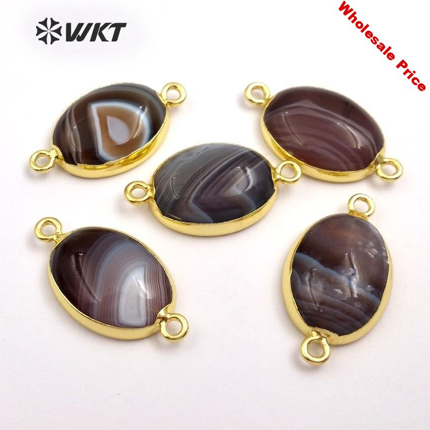 WT-C252 2018 Newest Trendy Oval Shape Connector Lovely Natural Stone With Metal Double Loops Connector For Women Jewerly Making