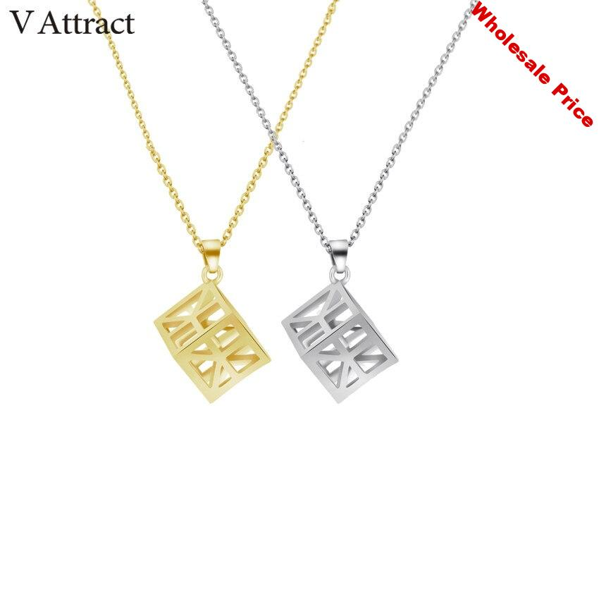 V Attract 10pcs Stainless Steel Chain Geometric Square Necklaces Pendants Stainless Steel Fashion Harajuku Jewelry Chain Choker