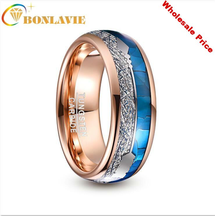 8mm Wide Tungsten Carbide Ring Rose Gold Plating Inlaid Blue Shell Meteorite Arrow Dome Tungsten Steel Ring Wedding Men Jewelry