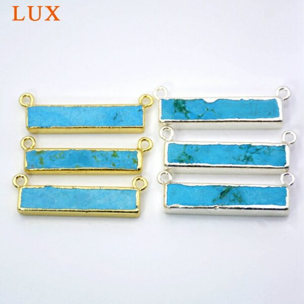Special Rectangle Howlite Turquoises Connectors With Gold/silver Plated Double Bails Blue Bar Connector Gem stone Jewelry