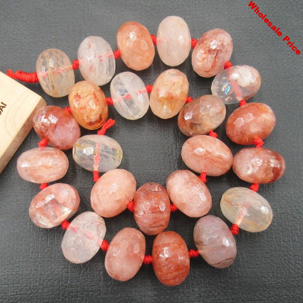 """APDGG Natural Rutilated Quartz 13x18mm 15.5"""" Rondelle Faceted Beads"""