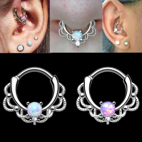 BOG-10PCS Titanium&Opal&Brass Lacey Opal Hinged Septum Clickers Nose Ring Nipple Lip Tragus Ear Cartilage Piercing Body jewelry