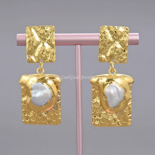 GG Jewelry White Keshi Pearl Golden Plated Rectangle Earrings