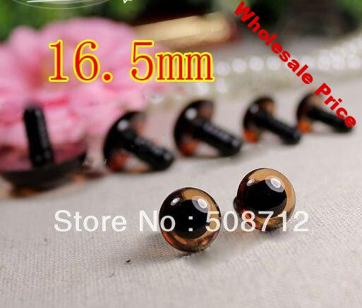 Free shipping!!!!DIY felt toy ------100pcs 16.5mm transparent tan color crystal Safety Eyes with safety washers