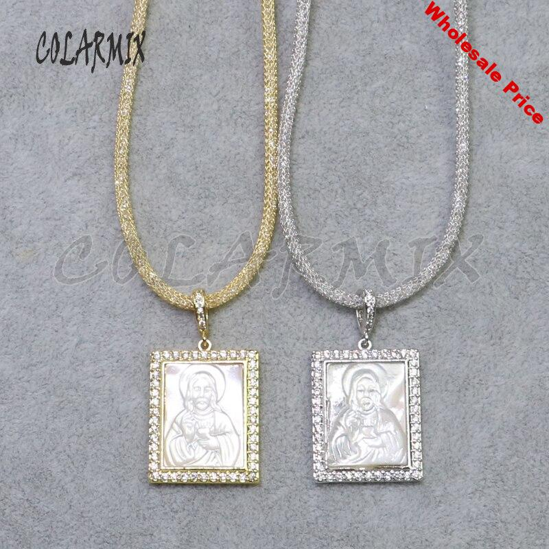 3PcsRectangle pendant necklace White Color pendant Necklace Crystal zircon shell charms pedant necklace Fashion jewelry gift5220
