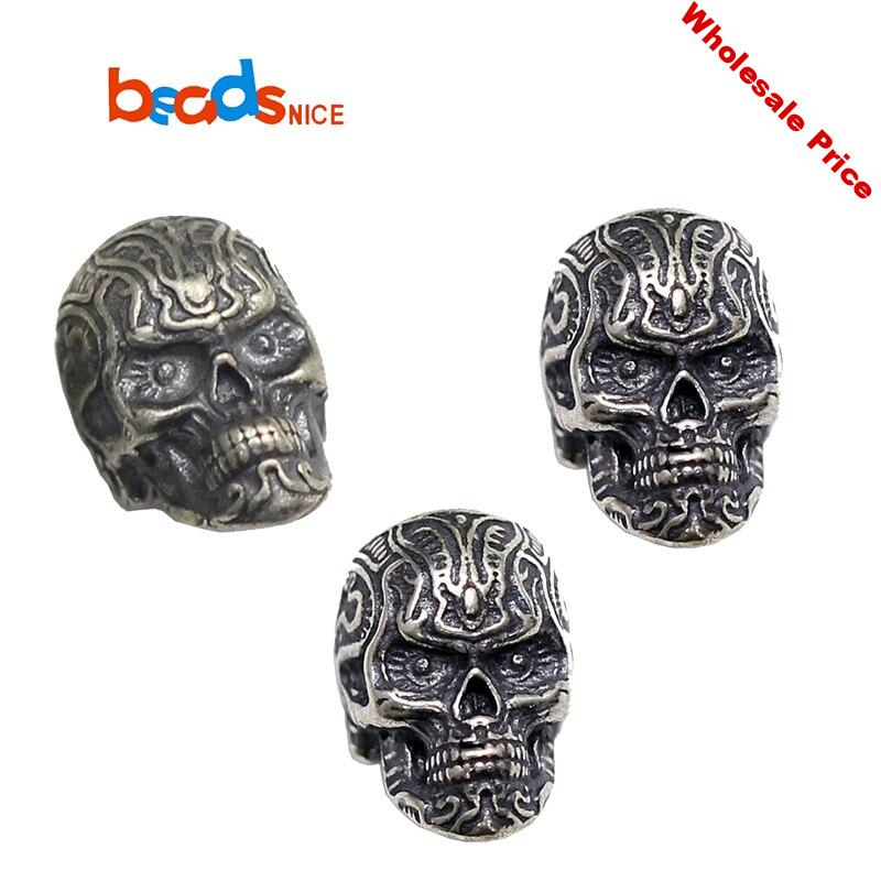 Beadsnice ID38393 925 Sterling Silver Skull Beads Jewelry Accessories Skull Skeleton Head Beads for Bracelet Jewelry Making