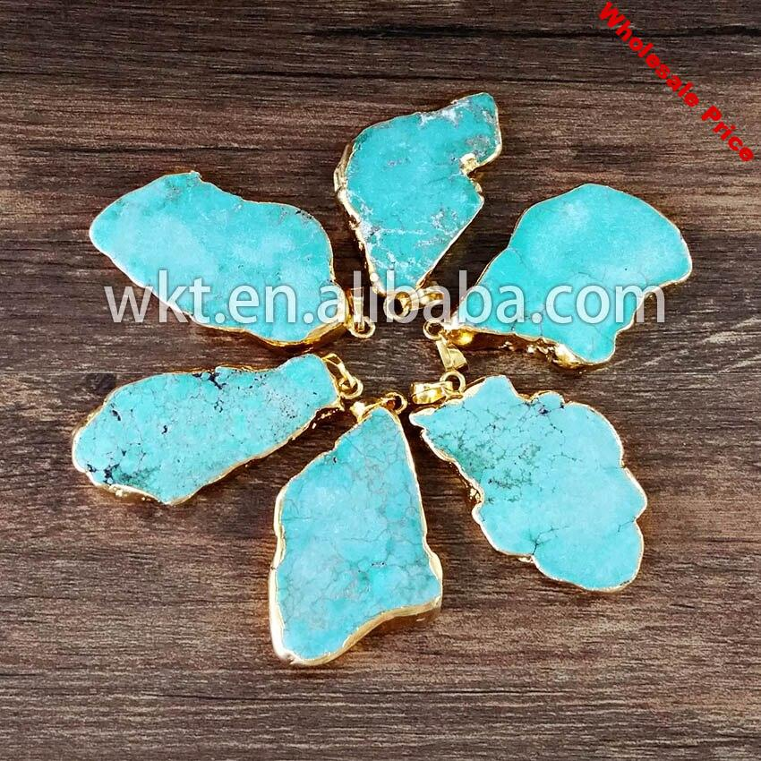 Hot Natural Green howlite single bail pendants fashion irregular stone pendant with 24k gold electroplated on edged 30-40mm