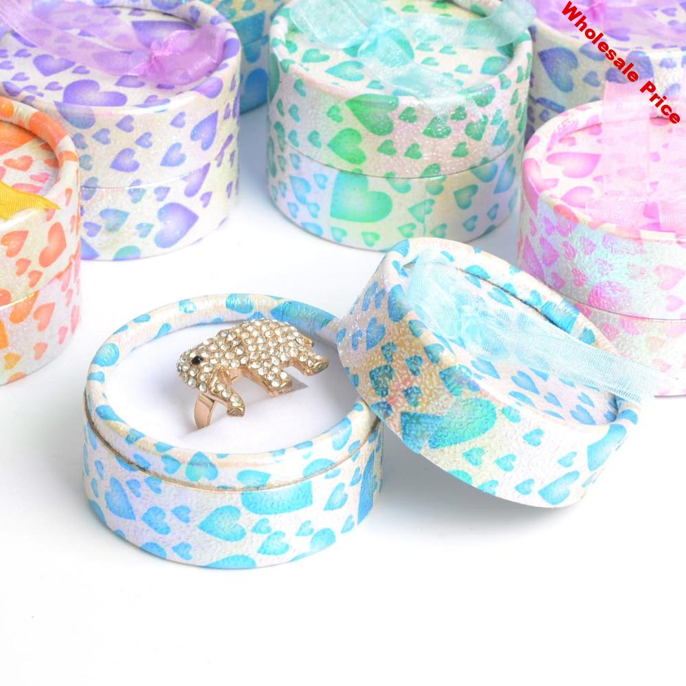 De Bijoux 48pcs/lot 5.5x3.5cm Mix Color Round Paper Jewelry Packaging Stud Earring Ring Box Wedding Party Gift Box Favor Boxes