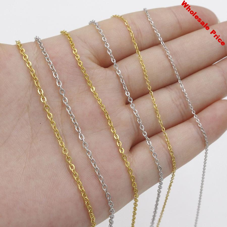 50pcs 316L Stainless Steel 1 1.5 2mm Rolo Link Chain Necklace Gold Steel Tone 40 45 50 60CM Long Chain Lobster Clasp Necklace