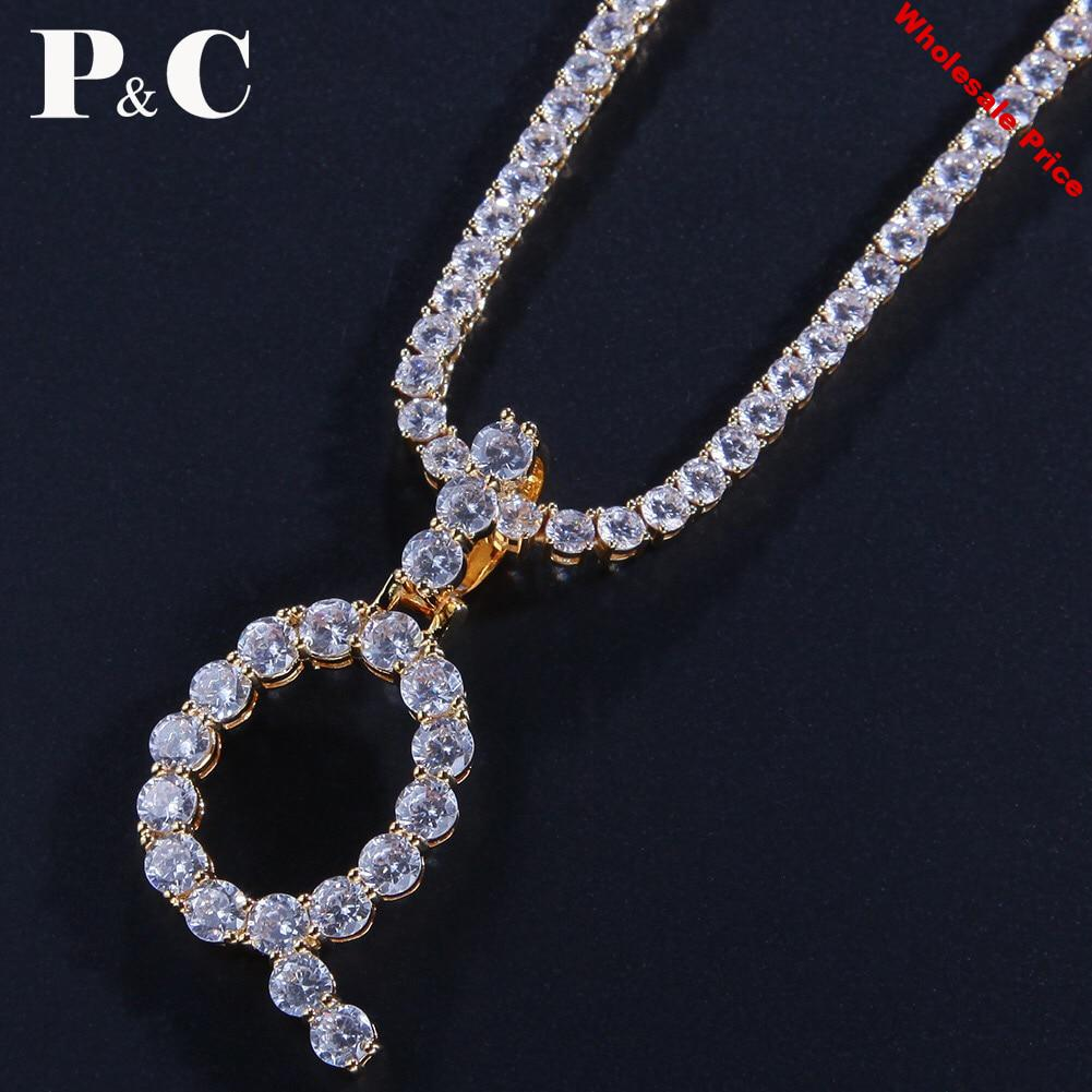Zircon Tennis Letters Necklaces & Pendant Women Men Rock hip hop bling jewelry iced out with Gold Silver Tennis Chain