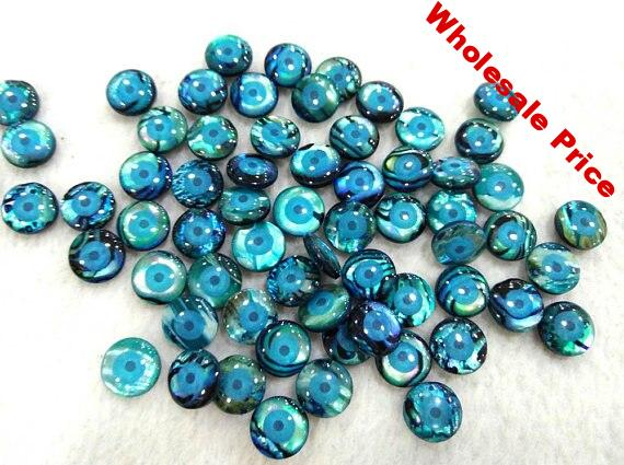 12pcs Abalone Cabochon Paua Shell beads - Jewelry Supplies - Round Coin Abalone evil Eyes Marquoise jewelry 10mm