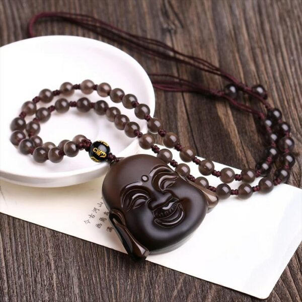 Ice hair Color Natural Obsidian Stone Laughing Buddha head pendant Necklace Lucky evil spirits for Women Men Fashion Jewelry