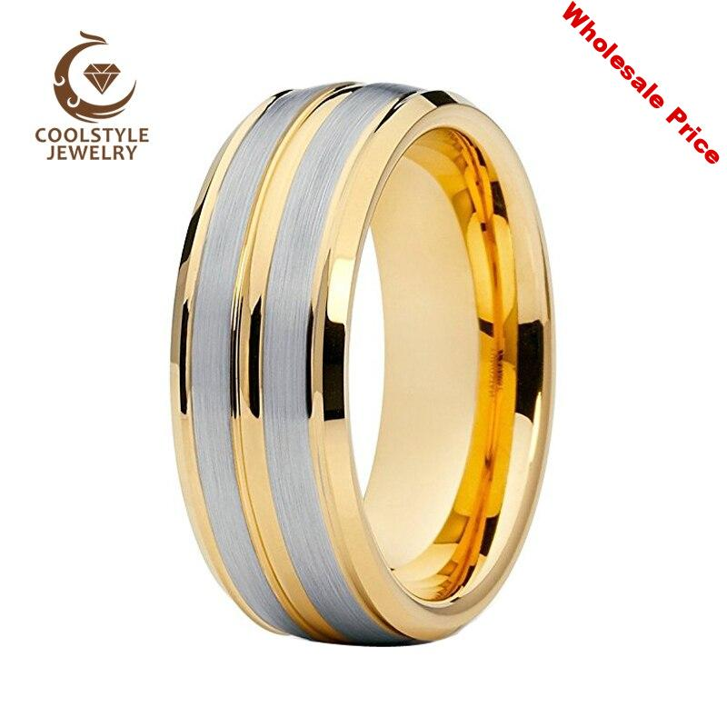 8MM Mens Wedding Ring Gold Tungsten Ring Stepped Beveled Brushed Finish Comfort Fit
