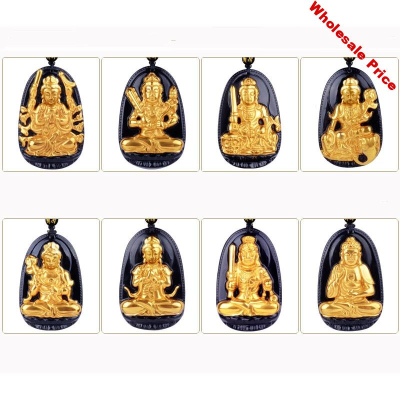 High Quality Gold+ Natural Black Obsidian Carved Buddha Lucky Amulet  Eight Patron saint Pendant For Women Men pendants fashion