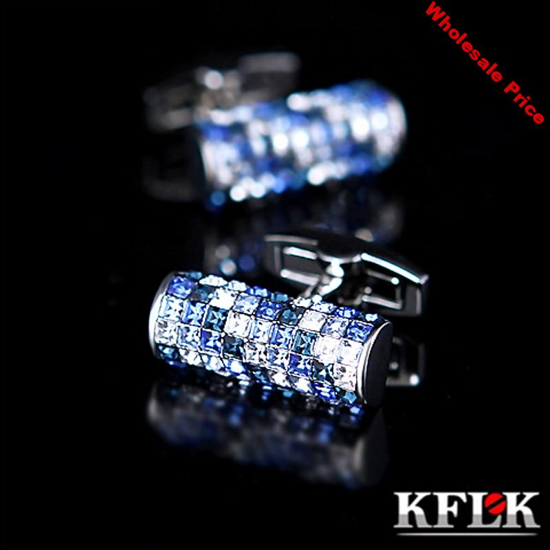 KFLK Jewelry shirt cufflink for mens Brand Blue and White Crystal Cuff link Luxury Wedding Button High Quality guests
