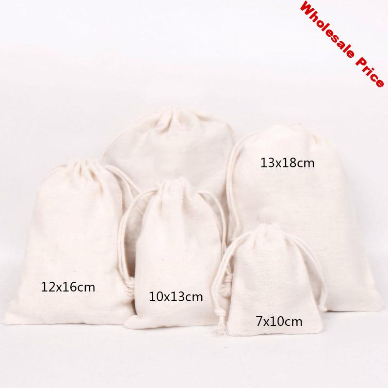 50PCS Cotton Pouch Jewelry Packaging Pure Cotton Drawstring Bag Party Makeup Wedding Storage Gift Cloth Packing Bag Custom Logo