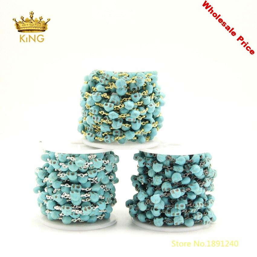 5meter Turquoises Blue Skull Head Rosary Chains