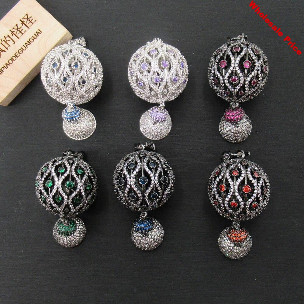 APDGG 30x60mm Gold plated pendant Colorful Crystal Ball connector Tassel cubic zircon CZ Micro Pave necklace pendant Jewelry DIY