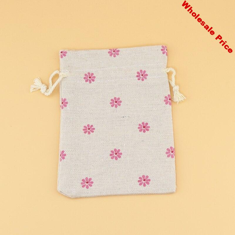 50pcs/lot 10x14cm Pink Snowflake Print Cotton Bag Jewelry Bag Favor Gift bag Cute Charms Jewelry Packaging Bag & Pouches