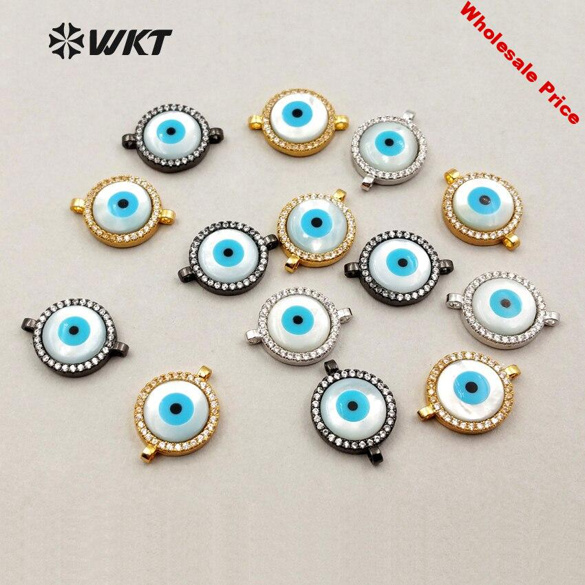 JF195 Fashion ZC Micro Pave Connector With Shell Evil Eyes Lovely Connector Women Wholesale Jewelry Findings Connector