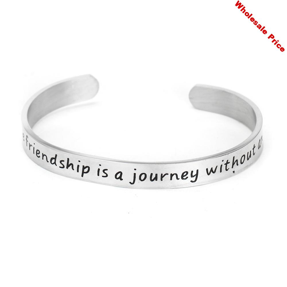 12PC A True Friendship Is A Journey Without An End Stainless Steel Bangle For Women Friendship Cuff Bracelet Elegant Female Gift