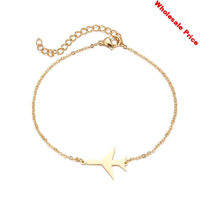 CL-108 Stainless Steel Bracelet For Women Gold And Silver Color Aircraft Pulseira Feminina Lover's Engagement Jewelry