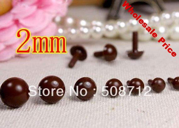 Free shipping!!!!300pcs mini 2mm brown Plastic Safety Pin Eyes Stuffed Wool Felted Animals Dolls/brown eyes beads