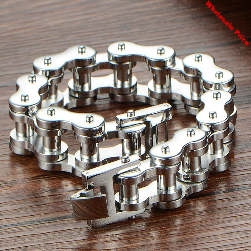 Wholesale Top Quality 18/22mm Huge Heavy 316L Stainless Steel Men's Motor Bike Chain Motorcycle Chain Bracelet Bangle  Jewelry