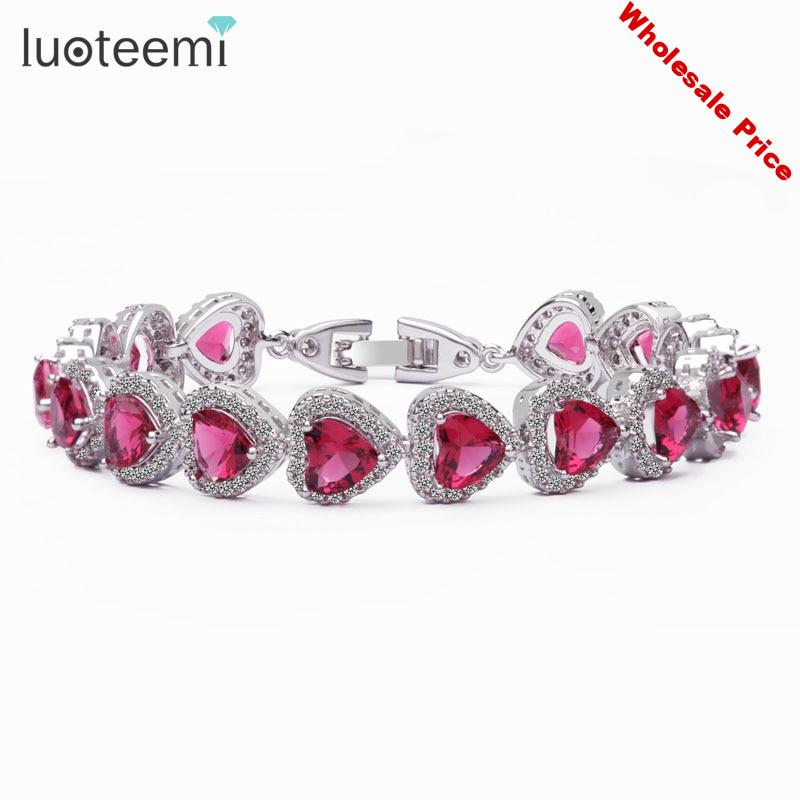 LUOTEEMI Trendy Heart Shape 4 Color Option AAA 6*6 Heart Zircon Stone Bracelets Bangles for Women White gold-Color Jewelry Gift