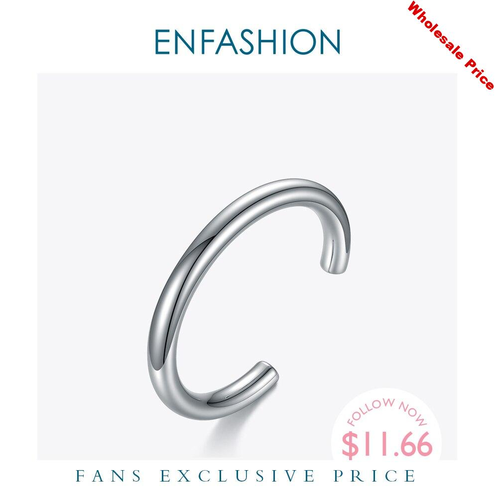 ENFASHION Minimalist Thick-tube Bangles For Women Stainless Steel Rock Hiphop Hollow Bracelets Femme Fashion Jewelry Gifts B2159