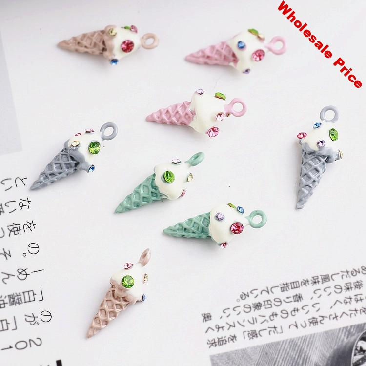 2017 new style 30pcs/lot rhinestone decoration alloy colorful 3D ice cream shape charms diy jewelry earrings pendant for women