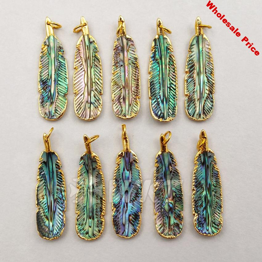 WT-P1200 WKT Stunning Wholesale Custom Natural Abalone Shell Pendant Small Carved Feather Pendant With Gold Trim Fashion Jewelry