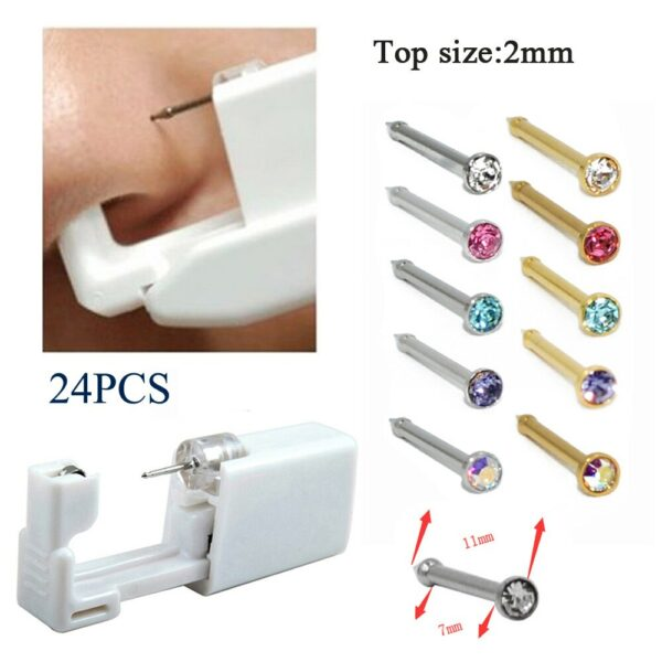 24PCS Disposable Nose Stud Piercing Units Body Jewelry Ear Helix Traguse Cartilage Earring Piercing Gun Kit Tools with Nose Bone