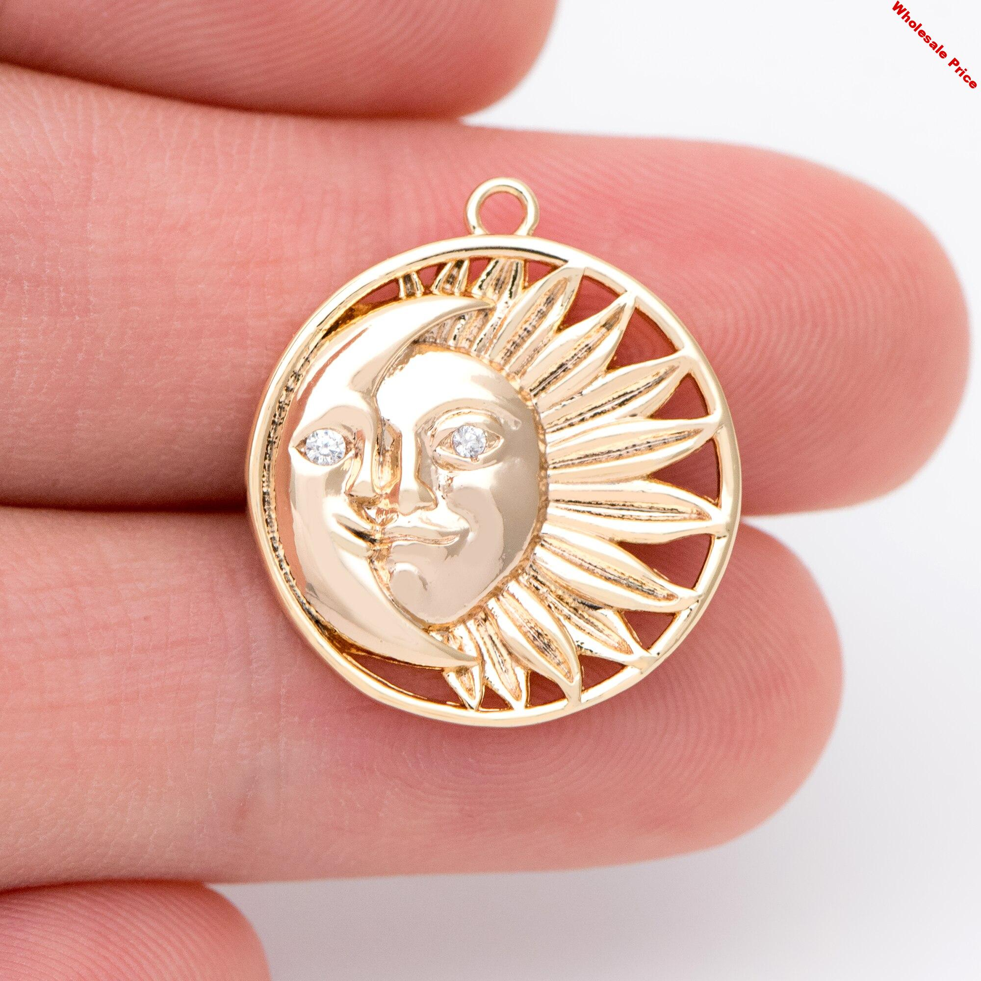 10pcs Sun and Moon Charms 21x19mm