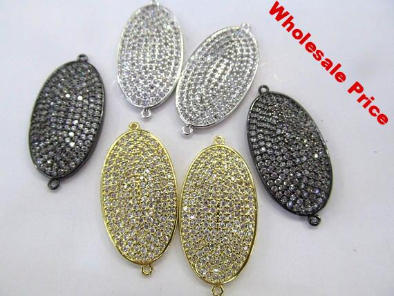 AA+ 20-38mm micro pave Diamond Crystal Micro Crystal Pave CZ oval bracelet connetor Jewelry beads 2pcs double loops