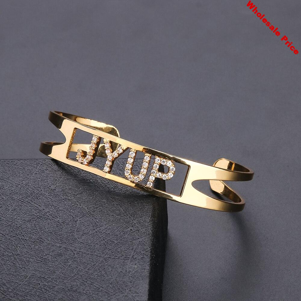 Lateefah Custom Name Women Bangle Adjustable Personality Gold Color Nameplate Cuff Love Open Bangle For Female Christmas Gift