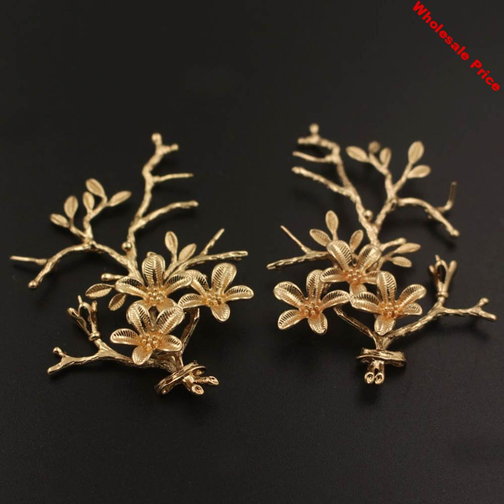 20pcs Creepers Leaf Vine Branch Flower Charms Quality Brass Metal Gold Silver Color DIY Bride Wedding Hair Jewelry Accessories