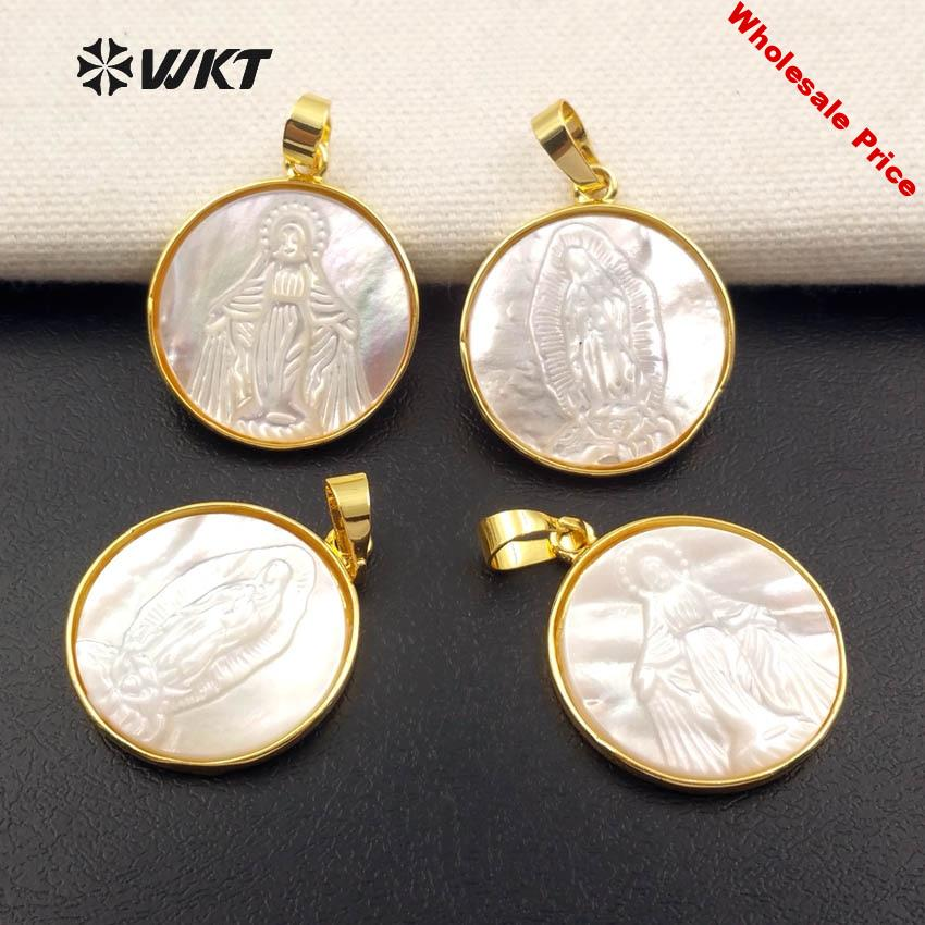 WT-JP042 Religious Luck Token Natural White Shell Round Shape With Gold Trim Pendant For Dainty Necklace Jewelry