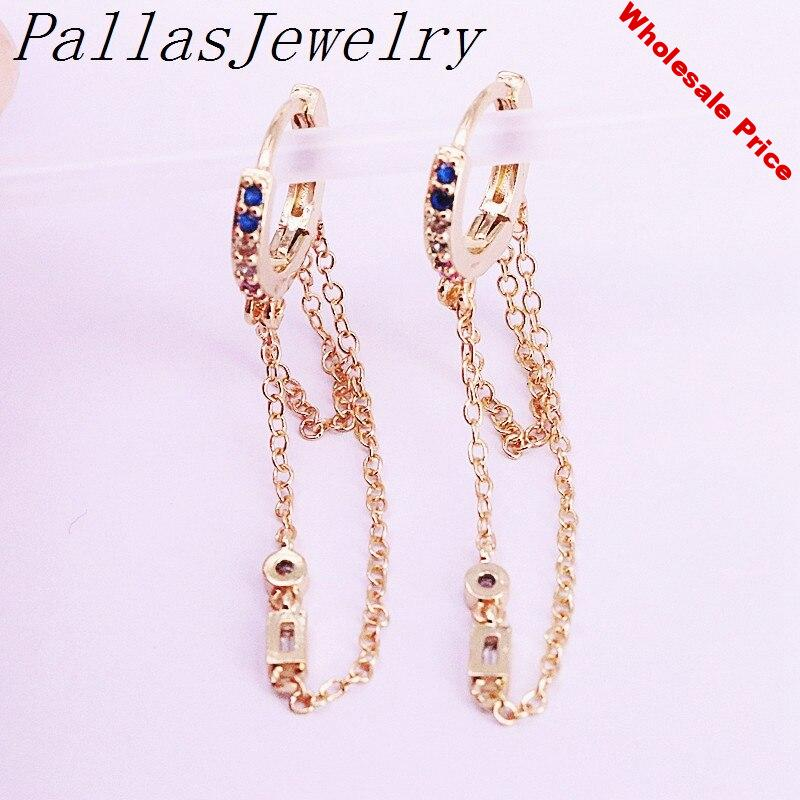 6Pairs Gold Filled  Multi Rainbow Zirconia CZ Micro Pave Dangle Earring New Fashion Design For Women