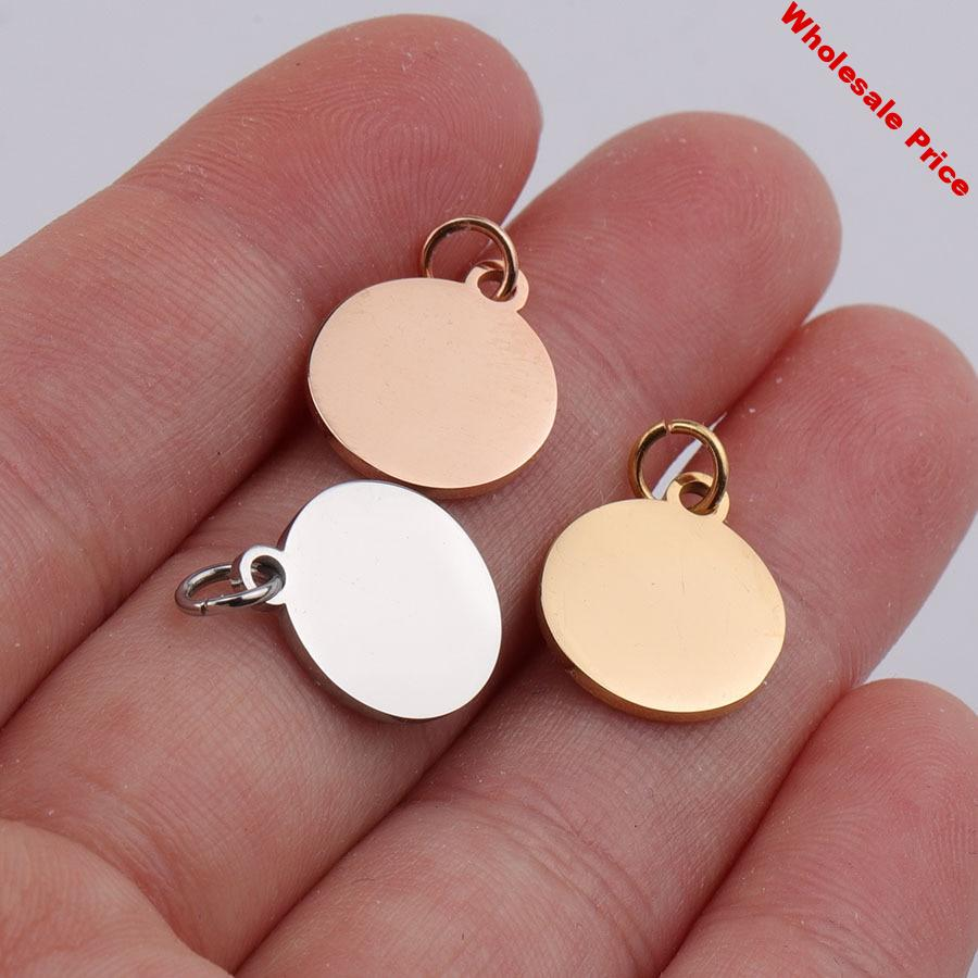 100% Stainless Steel Blank Circle Tag Charm For Engrave 12mm Metal Round Tags Mirror Polished Wholesale 20pcs