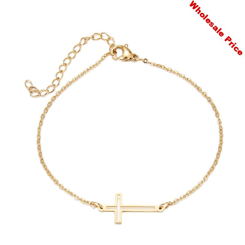 YS-2 Stainless Steel Bracelet For Women Gold And Silver Color Cross Pulseira Feminina Lover's Engagement Jewelry