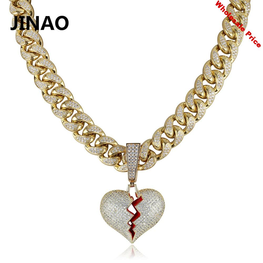 JINAO Gold Silver Color Broken Heart Iced Out Chian Pendant & Necklace Statement Cubic Zircon Necklace Hip Hop Men Jewelry Gifts