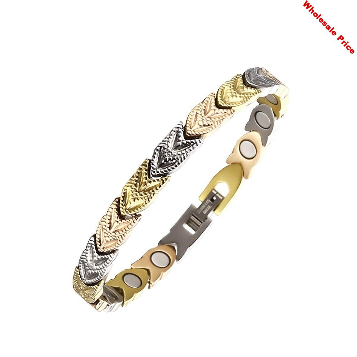 Stainless Steel Health Magnetic Therapy Bracelets for Women Pain Relief for Arthritis