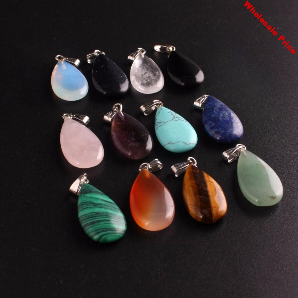 Wholesale 50pcs/lot Trendy Hot Sell Teardrop Natural Stone Water Drop Shape Charms Pendants for Necklaces Making Free Shipping